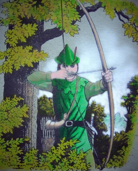 Robin Hood 2005, in color, T-shirt design © David Carrigan
