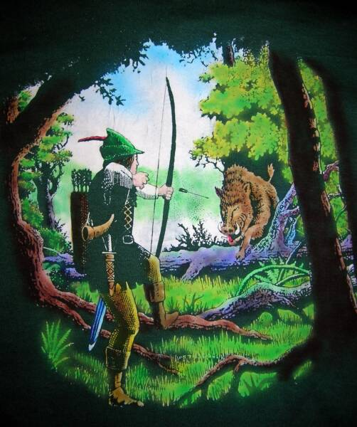 Robin Hood with Boar, in color, T-shirt design © David Carrigan