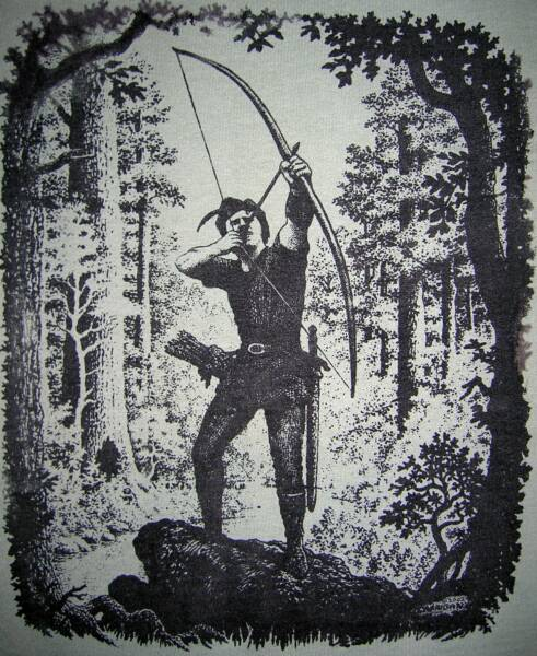 Robin Hood 2002, black and white, T-shirt design © David Carrigan