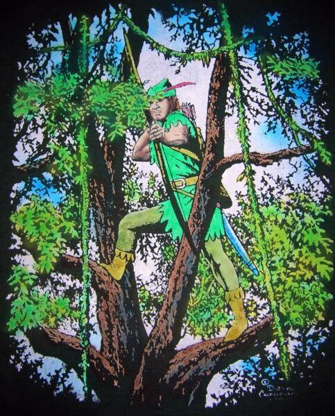 Robin Hood in Tree, color, T-shirt design © David Carrigan