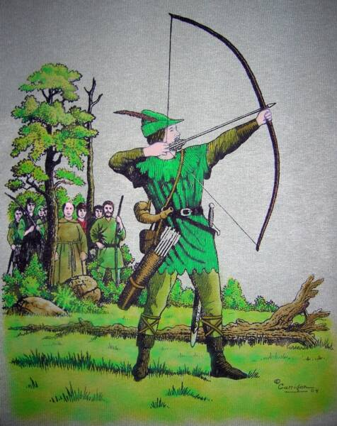 Robin and his merry Men, color, T-shirt design © David Carrigan