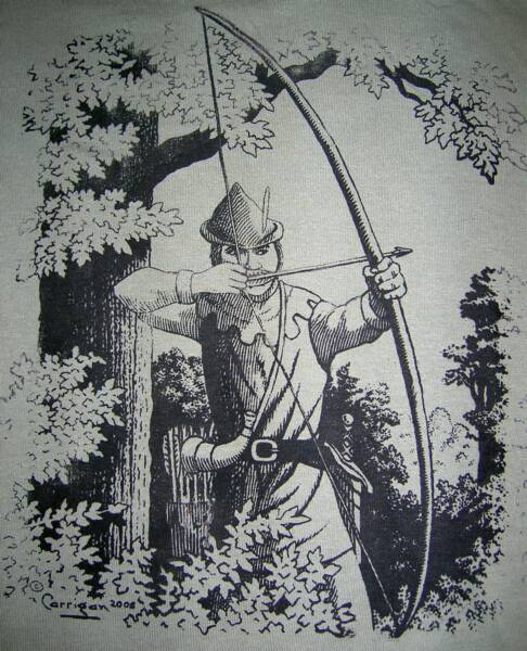 Robin Hood 2005, in black and white, T-shirt design © David Carrigan
