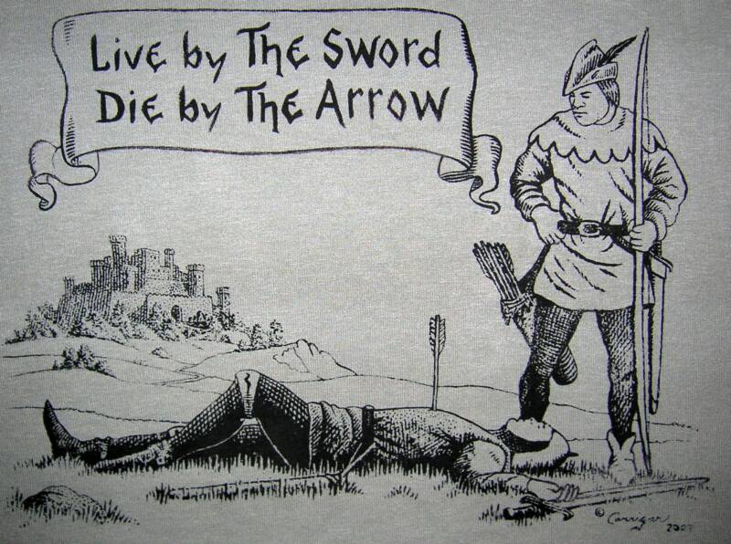 Live by the sword~die by the Arrow, black and white, T-shirt design © David Carrigan