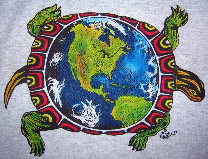 Turtle Island, on ash, T-shirt design © David Carrigan
