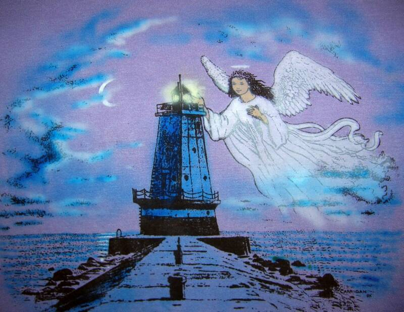 Angel llighthouse, in color on lavender, T-shirt design © David Carrigan