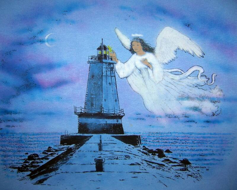 Angel Lighthouse, in color on blue T, T-shirt design © David Carrigan